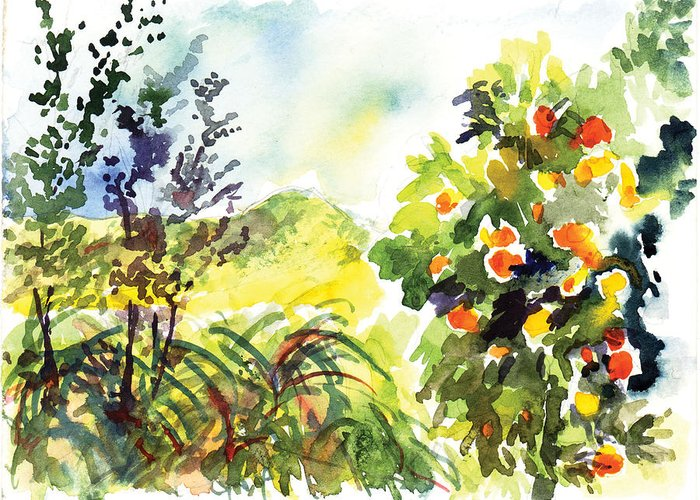Ojai Greeting Card featuring the painting Ojai Oranges by Lily Hymen
