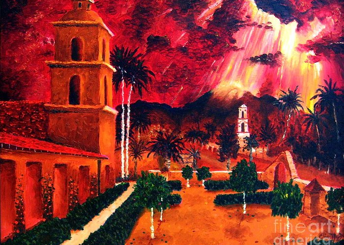 Cityscape Greeting Card featuring the painting Ojai Red I by Chris Haugen