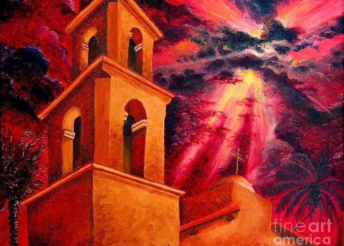 Cityscape Greeting Card featuring the painting Ojai Red II by Chris Haugen