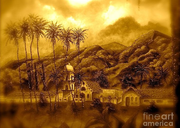 Cityscape Greeting Card featuring the painting Ojai Sepia IIi by Chris Haugen