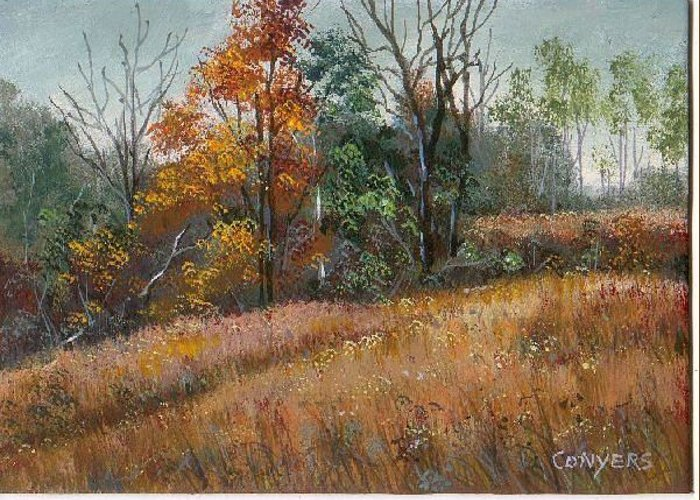Landscape Greeting Card featuring the painting Oklahoma Autumn by Peggy Conyers