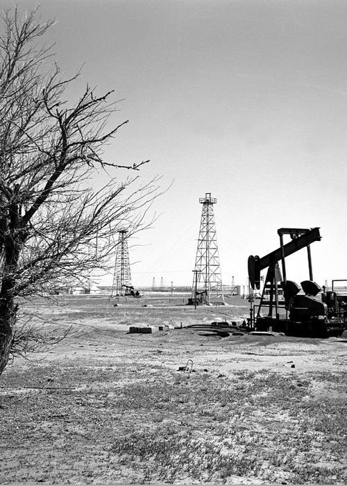 Oil Greeting Card featuring the photograph Oklahoma Oil Field by Larry Keahey