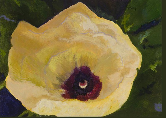 Flower Greeting Card featuring the painting Okra Flower by Jimmie Trotter