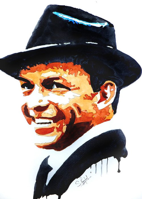 Rat Pack Greeting Card featuring the painting Ol' Blue Eyes by Steven Ponsford