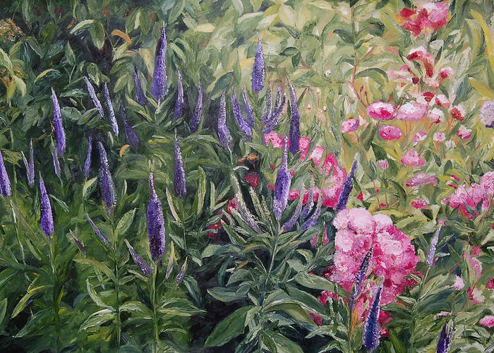 Konkol Greeting Card featuring the painting Olbrich Garden Series - Garden 2 by Lisa Konkol