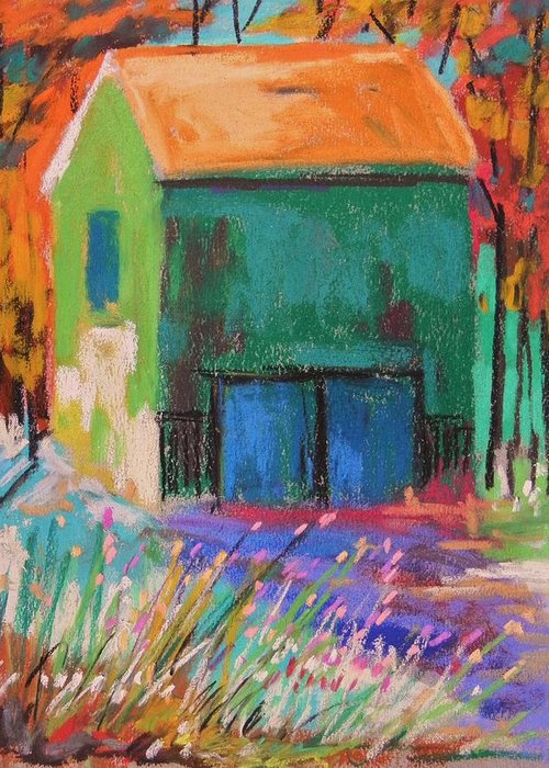 Barn Greeting Card featuring the painting Old And Green by John Williams