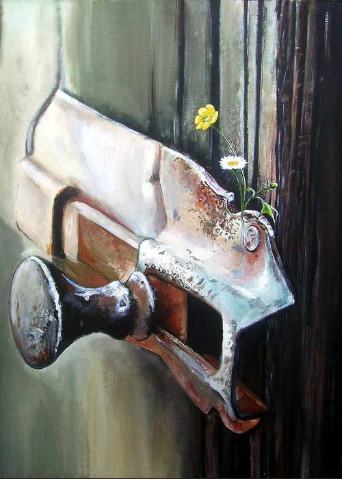 Rusty Old Flowers Buttercup Dasiy Green Wood Greeting Card featuring the painting Old And Rusty by Arie Van der Wijst