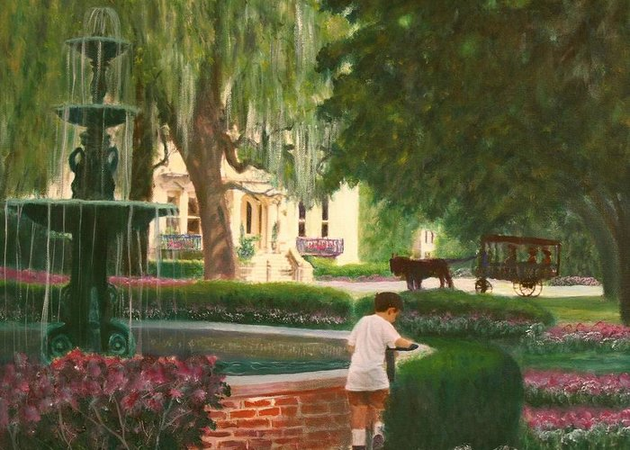 Savannah; Fountain; Child; House Greeting Card featuring the painting Old And Young Of Savannah by Ben Kiger