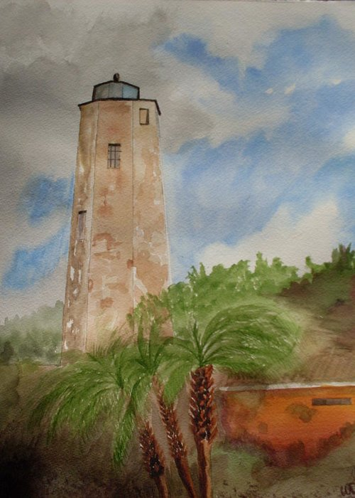 Lighthouse Greeting Card featuring the painting Old Baldy by Warren Thompson