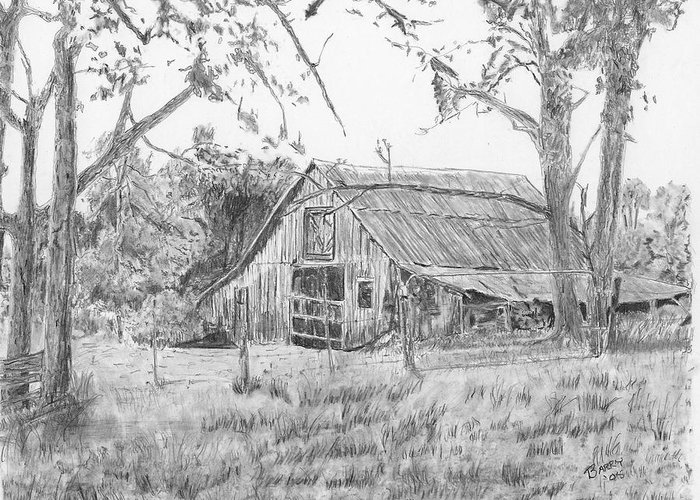 Old Barn Greeting Card featuring the drawing Old Barn 2 by Barry Jones