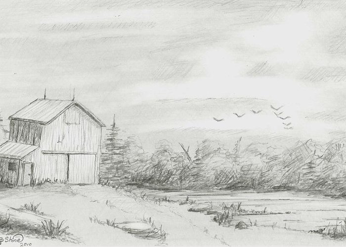 Old Barn Greeting Card featuring the drawing Old Barn 2 by BJ Shine