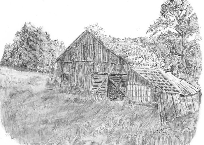 Old Barn Greeting Card featuring the drawing Old Barn 3 by Barry Jones