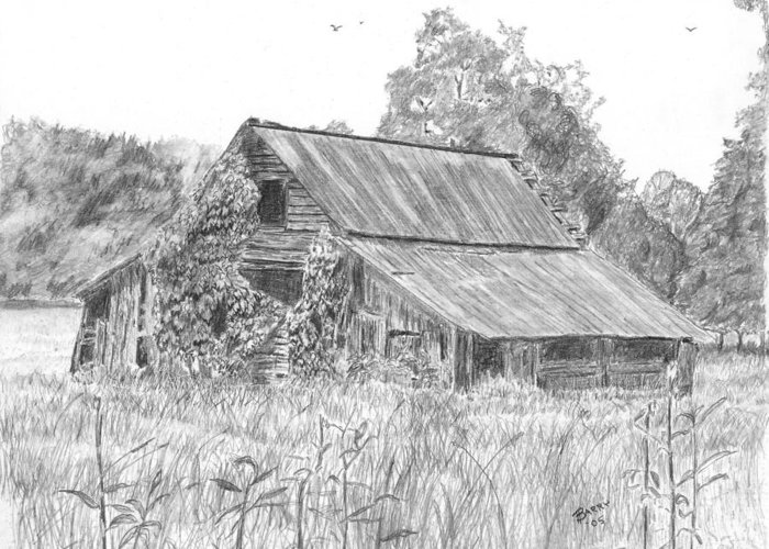 Barn Greeting Card featuring the drawing Old Barn 4 by Barry Jones