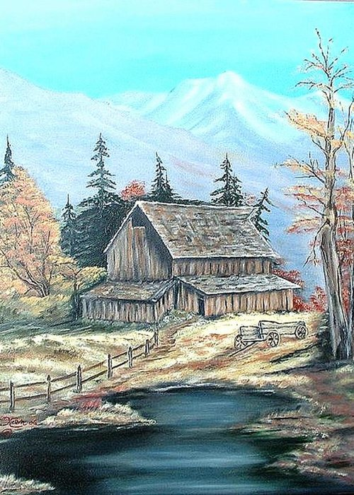 Landscape Pond Wagon Old Trees Mountain Greeting Card featuring the painting Old Barn Above The Pond by Kenneth LePoidevin