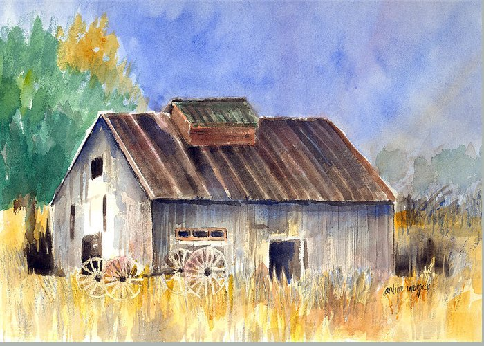Barn Greeting Card featuring the painting Old Barn by Arline Wagner