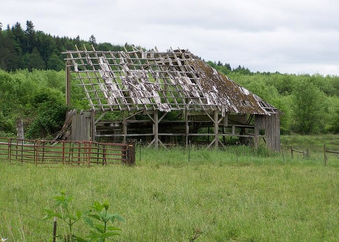 Barn Greeting Card featuring the photograph Old Barn Bones Washington State by Laurie Kidd
