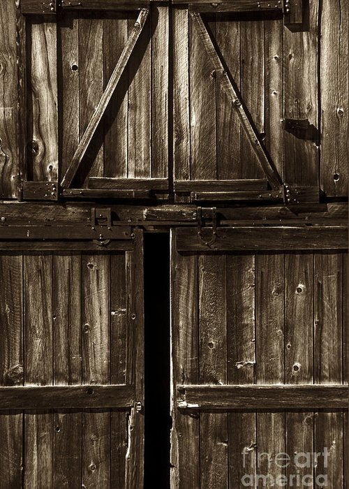 Barn Greeting Card featuring the photograph Old Barn Door - Toned by Paul W Faust - Impressions of Light