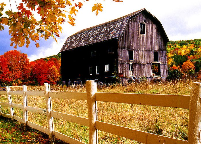 Rural Greeting Card featuring the photograph Old Barn In Autumn by Roger Soule