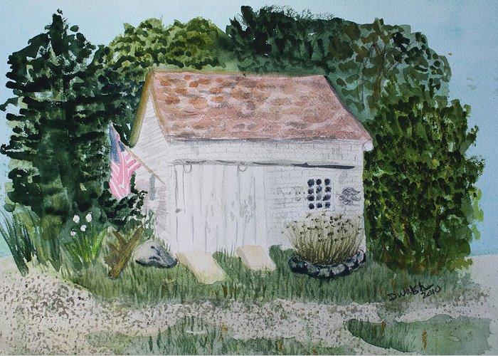 Barn Greeting Card featuring the painting Old Barn In Eastham Ma by Donna Walsh