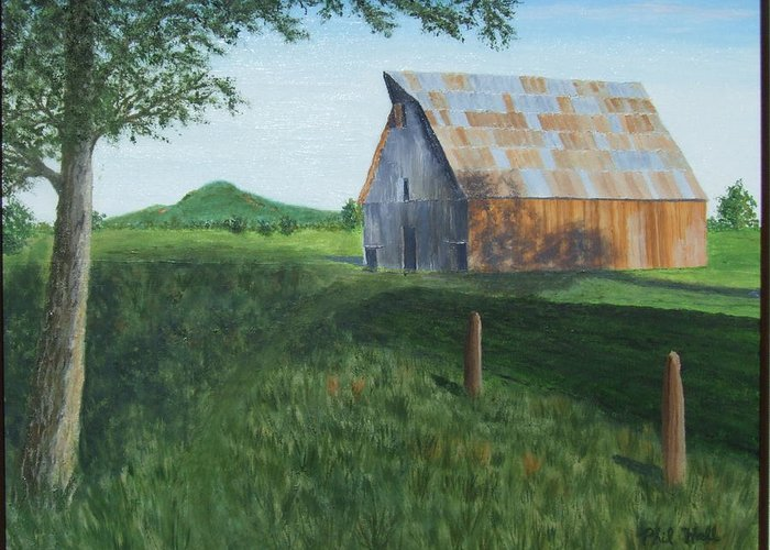 Barn Greeting Card featuring the painting Old Barn by Philip Hall