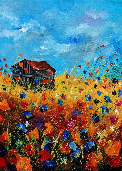 Poppies Greeting Card featuring the painting Old Barn by Pol Ledent