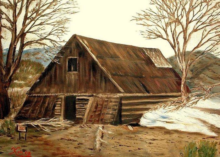 Barn Landscape Snow Greeting Card featuring the painting Old Barn Series 1 by Kenneth LePoidevin