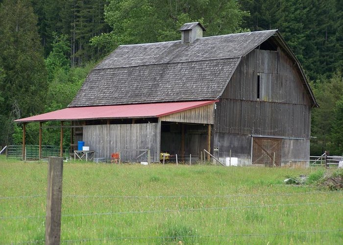 Barn Greeting Card featuring the photograph Old Barn With Red Leanto Washington State by Laurie Kidd
