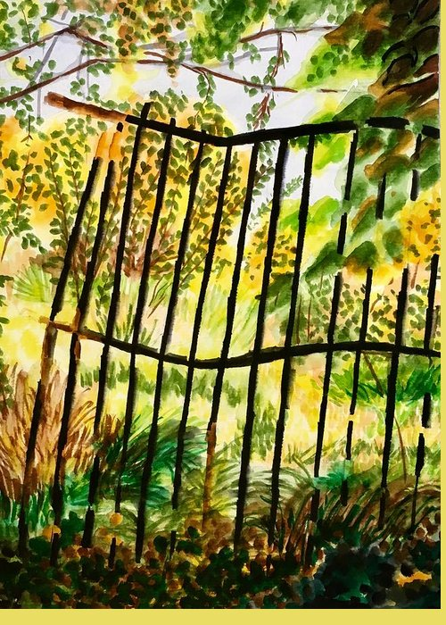 Gate Greeting Card featuring the painting Old Bent Gate by Judy Swerlick