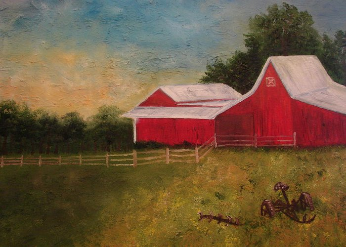 Landscape Greeting Card featuring the painting Old Big Red by Shiana Canatella