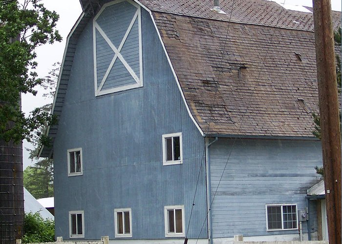 Old Greeting Card featuring the photograph Old Blue Barn Littlerock Washington by Laurie Kidd