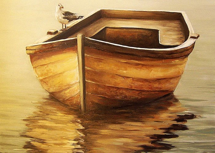 Seascape Greeting Card featuring the painting Old Boat by Natalia Tejera