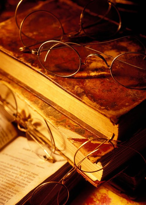 Book Greeting Card featuring the photograph Old Books And Glasses by Garry Gay
