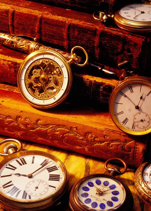 Book Greeting Card featuring the photograph Old Books And Pocket Watches by Garry Gay