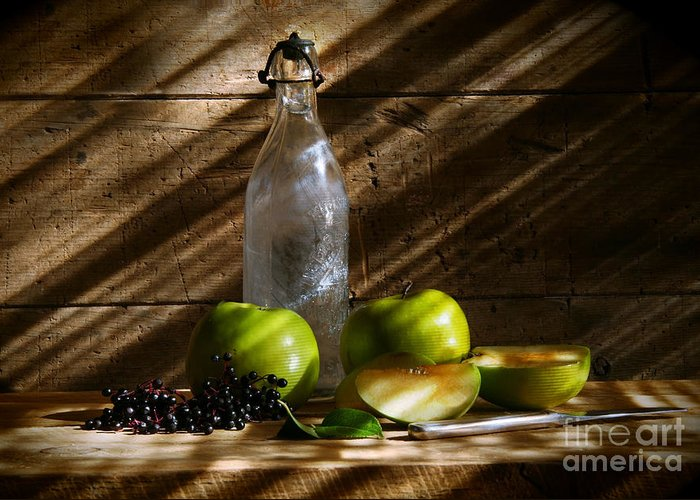 Apple Greeting Card featuring the photograph Old Bottle With Green Apples by Sandra Cunningham