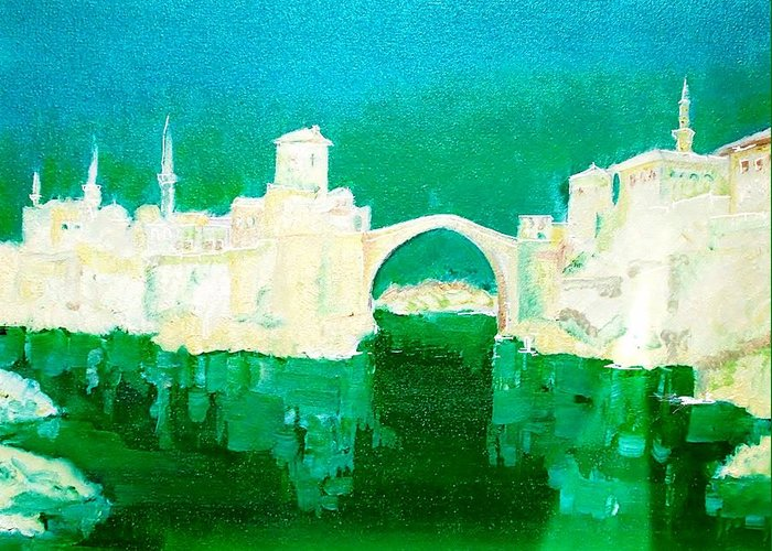 Mostart By Fine America Art Greeting Card featuring the painting Old Bridge In Mostar by FS Boric
