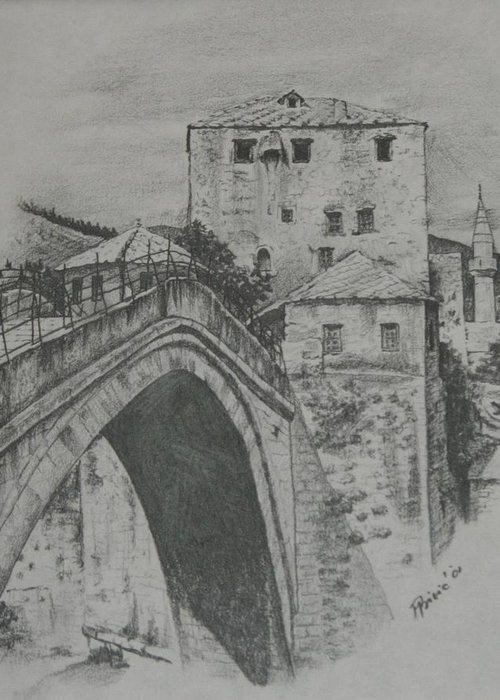 Old Greeting Card featuring the drawing Old Bridge -mostar by Meliha Bisic