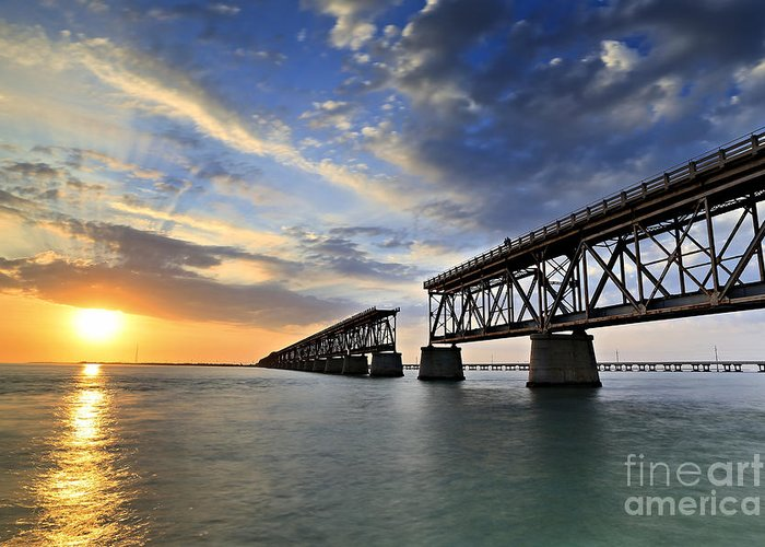 Bahia Honda Greeting Card featuring the photograph Old Bridge Sunset by Eyzen M Kim