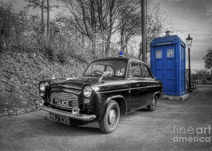 Art Greeting Card featuring the photograph Old British Police Car And Tardis by Yhun Suarez