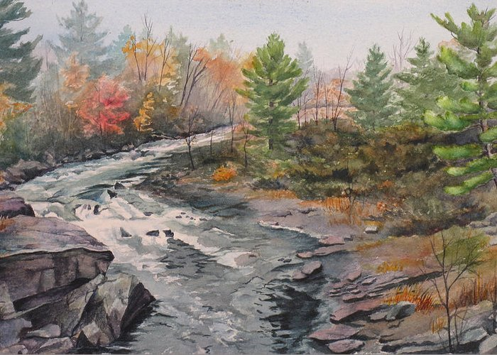 Burleigh Greeting Card featuring the painting Old Burleigh Stream by Debbie Homewood