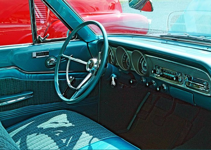 Cars Greeting Card featuring the photograph Old Car Interior by Karl Rose