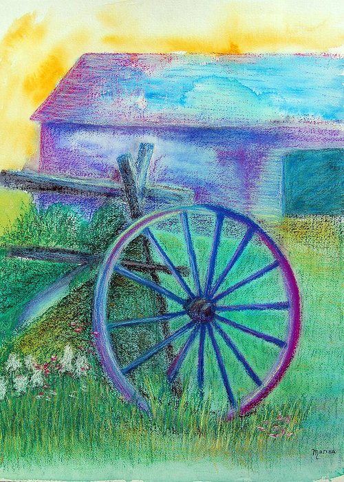 Old Cartwheel Greeting Card featuring the painting Old Cartwheel At Father Pandosy Mission by Marina Garrison