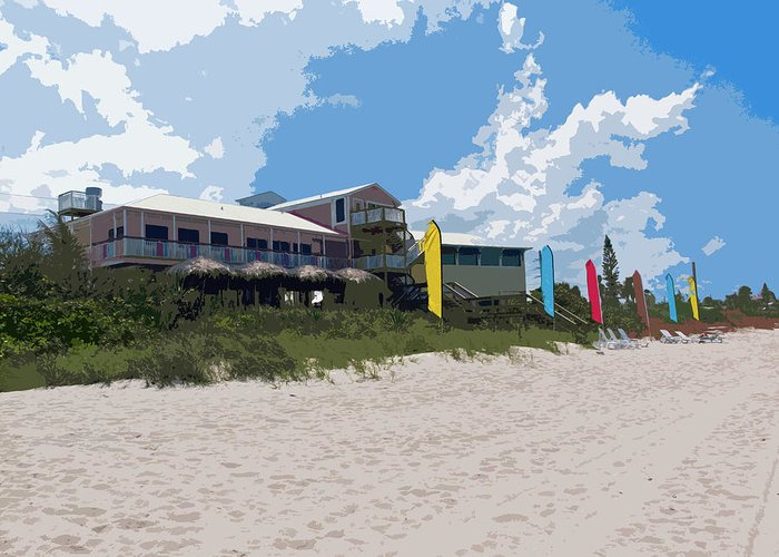 Florida Greeting Card featuring the painting Old Casino On An Atlantic Ocean Beach In Florida by Allan Hughes