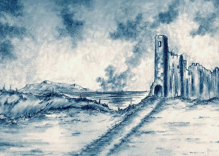 Castle Greeting Card featuring the drawing Old Castle Ruins by Michael Vigliotti