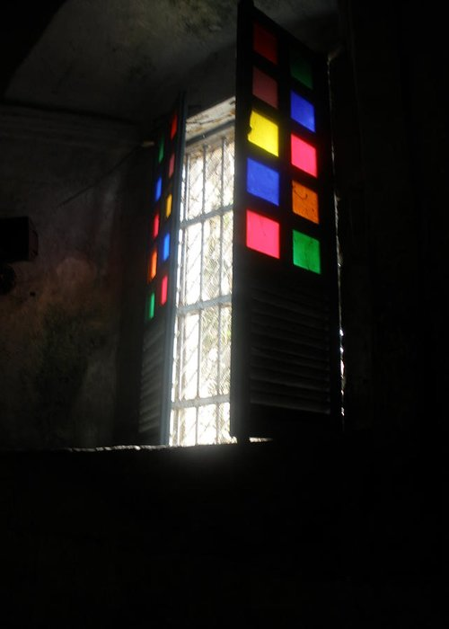 Church Window Greeting Card featuring the photograph Old Catholic Church Window by Robert Cunningham