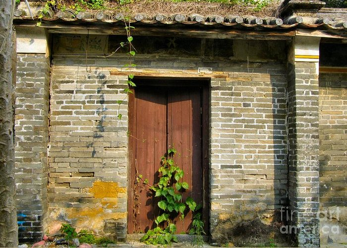 Door Greeting Card featuring the photograph Old Chinese Village Door Series Sixteen by Kathy Daxon
