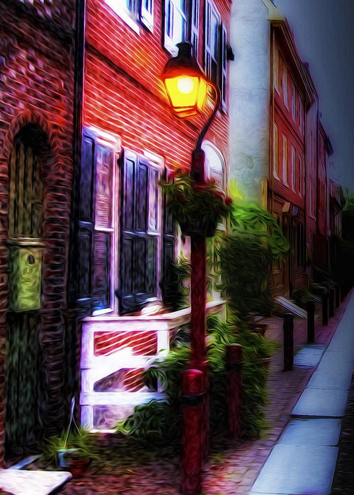 Old City Streets - Elfreth's Alley Greeting Card featuring the photograph Old City Streets - Elfreth's Alley by Bill Cannon