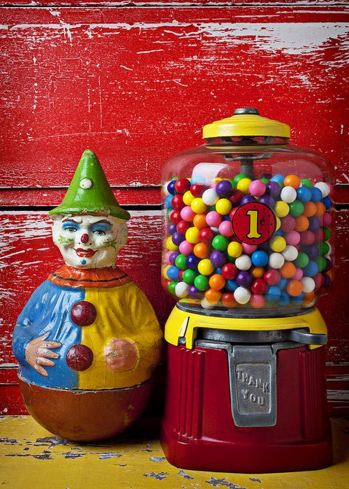 Old Clown Toy Greeting Card featuring the photograph Old Clown Toy And Gum Machine by Garry Gay