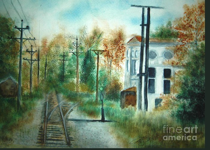 Landscape Greeting Card featuring the painting Old Cn Station Fort Langley Bc by Vivian Mosley