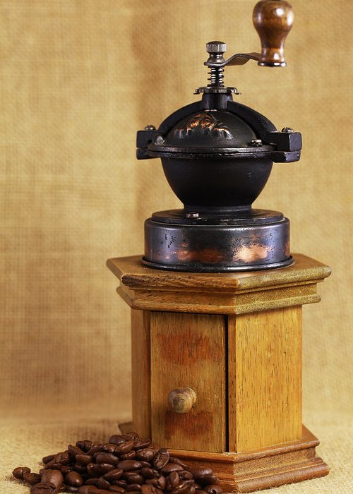 Kaffeem�hle Greeting Card featuring the photograph Old Coffee Grinder by Falko Follert