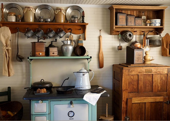 Antiques Greeting Card featuring the photograph Old Country Kitchen by Carmen Del Valle
